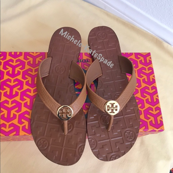 88140c175d851 NIB Tory Burch Tan Thora Thong Leather Sandals